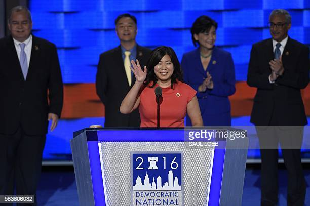 US Representative Grace Meng of New York speaks during Day Three of the Democratic National Convention at the Wells Fargo Center in Philadelphia...