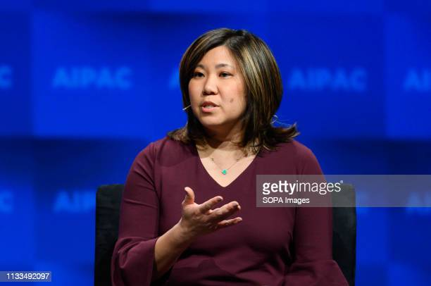 Representative Grace Meng seen speaking during the American Israel Public Affairs Committee Policy Conference in Washington, DC.
