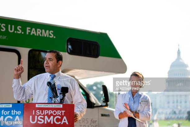US Representative Henry Cuellar speaks during a rally for the passage of the USMexicoCanada Agreement near the US Capitol in Washington DC on...