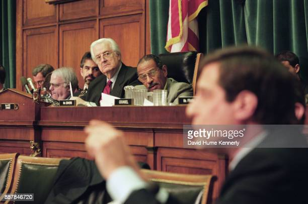 Representative Henry Hyde chairs the House Judiciary Committee meeting during deliberations of the proposed articles of impeachment December 11 1998...