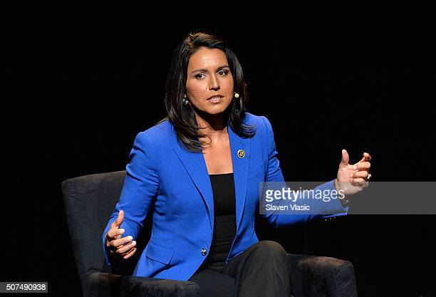 S Representative HI02 Tulsi Gabbard attends the 2016 Tina Brown Live Media's American Justice Summit at Gerald W Lynch Theatre on January 29 2016 in...