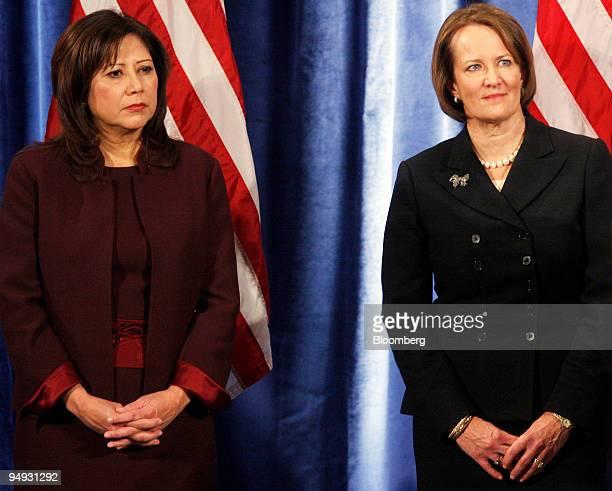 Representative Hilda Solis of California left and Karen Mills a founding partner of New Yorkbased equity firm Solera Capital listen to US...