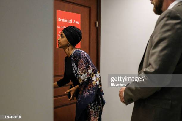 Representative Ilhan Omar a Democrat from Minnesota arrives to a closeddoor testimony before House committees with Gordon Sondland US ambassador to...