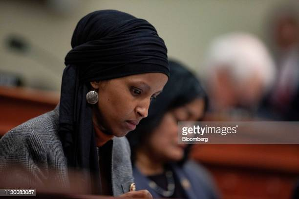 Representative Ilhan Omar a Democrat from Minnesota listens during a House Budget Committee hearing with Russell Vought acting director of the Office...