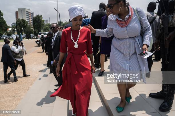 US Representative Ilhan Omar arrives at the Ghana's Parliament in Accra on July 31 2019 during a threeday visit to the country to mark the 400 years...