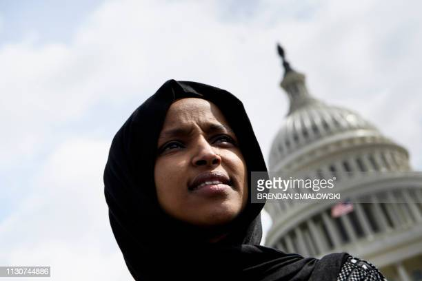 US Representative Ilhan Omar attends a youth climate rally on the west front of the US Capitol on March 15 2019 in Washington DC