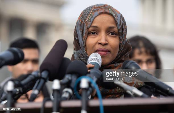 US Representative Ilhan Omar Democrat of Minnesota speaks during a press conference calling on Congress to cut funding for US Immigration and Customs...