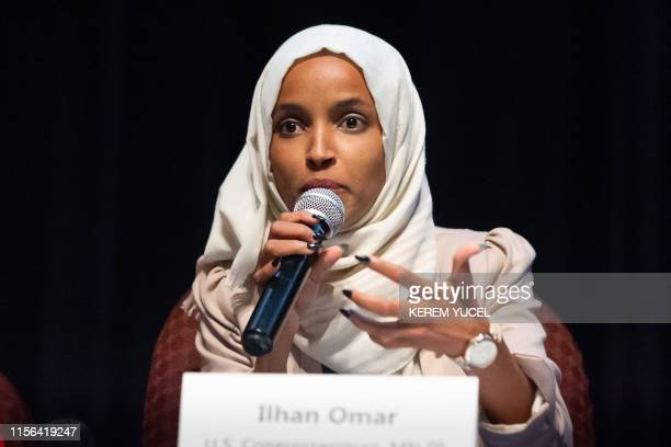 US Representative Ilhan Omar speaks on stage during a town hall meeting at Sabathani Community in Minneapolis Minnesota on July 18 2019