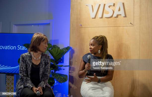 Representative Jackie Speier and Adama Iwu Vice President State Government Community Relations at Visa attends a Conversation with American Heroines...