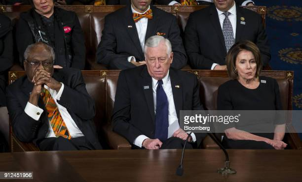 Representative James Clyburn a Democrat from South Carolina from left US House Minority Whip Steny Hoyer a Democrat from Maryland and House Minority...
