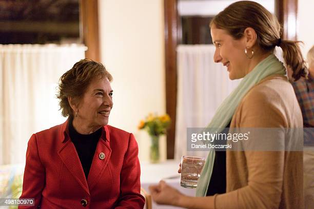 Representative Jan Schakowsky and Executive Director of MoveOnorg Civic Action Anna Galland attend as Syrian refugees and community leaders join...