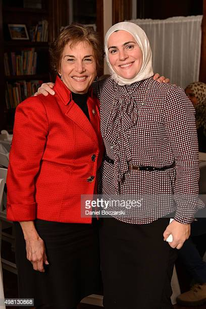 Representative Jan Schakowsky and Founder CEO of the Syrian Community Network Suzanne Akhras Sahloul attend as Syrian refugees and community leaders...