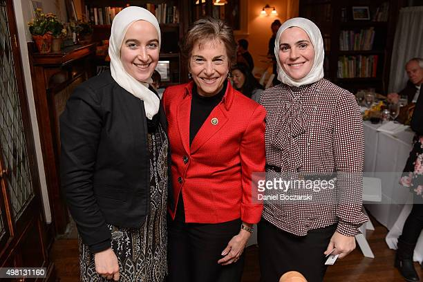 Representative Jan Schakowsky and guests attend as Syrian refugees and community leaders join together for a #RefugeesWelcome Thanksgiving dinner...