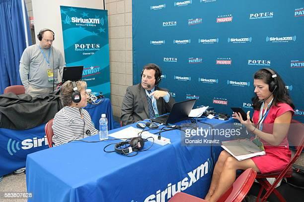 Representative Jan Schakowsky is interviewed by Tim Farley on SiriusXM POTUS on as producer Jennifer McLellan listens on July 27 2016 in Philadelphia...