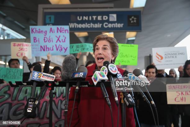 S Representative Jan Schakowsky joins demonstrators speaking out against police brutality outside the United Airlines terminal at O'Hare...