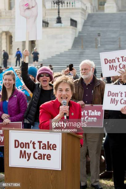 Representative Jan Schakowsky speaks at the Kill The Bill Rally To Demand The House GOP Vote No On Trumpcare at the United States Capitol Building on...