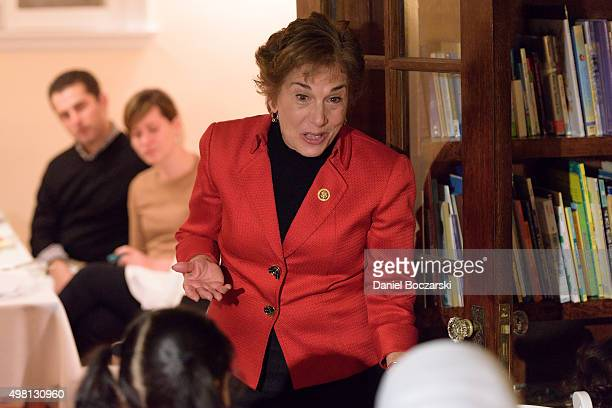 Representative Jan Schakowsky speaks to Syrian refugees and community leaders during a #RefugeesWelcome Thanksgiving dinner hosted by MoveOnorg on...