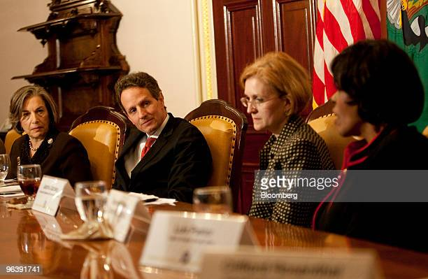 Representative Janice Schakowsky a Democrat from Illinois left to right Timothy Geithner US treasury secretary and Jeannine Jacokes senior policy...