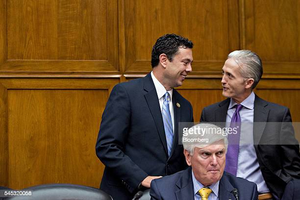 Representative Jason Chaffetz a Republican from Utah and chairman of the House Oversight and Government Reform Committee left talks to Representative...