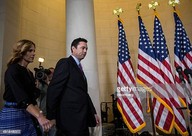 Representative Jason Chaffetz a Republican from Utah right arrives with wife Julie Chaffetz to speak to the media after House Majority Leader Kevin...