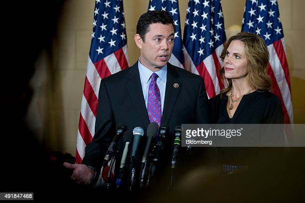 Representative Jason Chaffetz a Republican from Utah speaks to members of the media with his wife Julie after a closed House Republican election...