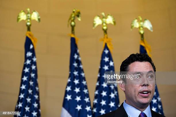 Representative Jason Chaffetz a Republican from Utah speaks to the media after House Majority Leader Kevin McCarthy a Republican from California not...