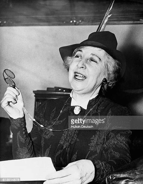 Representative Jeanette Rankin of Montana talks to the press on December 9 after casting the only vote against the United States' declaration of war...