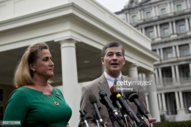 Representative Jeb Hensarling a Republican from Texas and chairman of the House Financial Services Committee right speaks as Representative Ann...