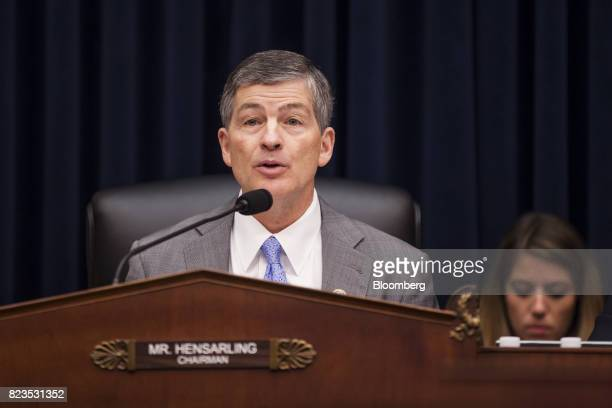 Representative Jeb Hensarling a Republican from Texas and chairman of the House Financial Services Committee speaks during a hearing on Capitol Hill...