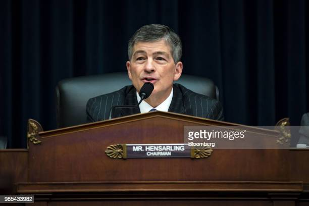 Representative Jeb Hensarling a Republican from Texas and chairman of the House Financial Services Committee speaks as Ben Carson secretary of...