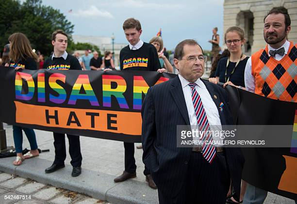Representative Jerrold Nadler speaks with supporters after a sitin over guncontrol laws with other House Democrats on Capitol Hill in Washington DC...