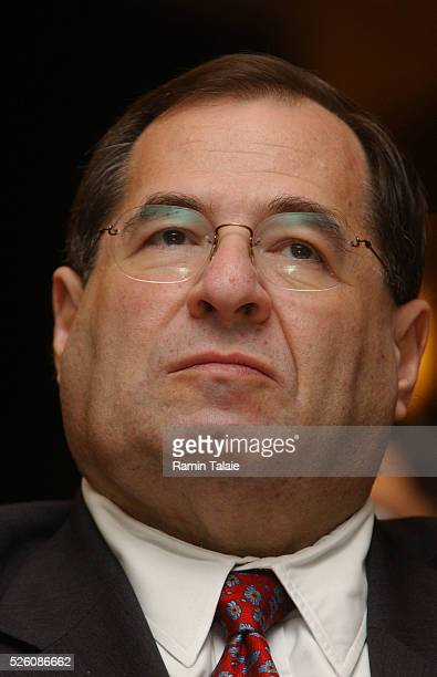 Representative Jerry Nadler listens to Senator John McCain during a rally on immigration law reform McCain was in Manhattan for a town hall meeting...