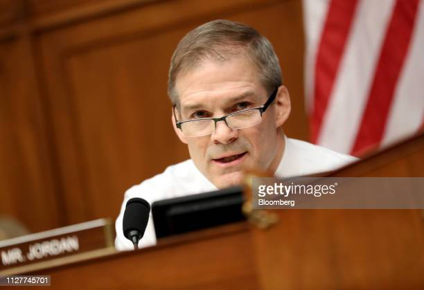 Representative Jim Jordan a Republican from Ohio and ranking member of the House Oversight Committee speaks during a hearing with Michael Cohen...