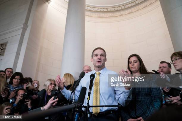 Representative Jim Jordan a Republican from Ohio answers questions from members of the media after a House Intelligence Committee impeachment inquiry...
