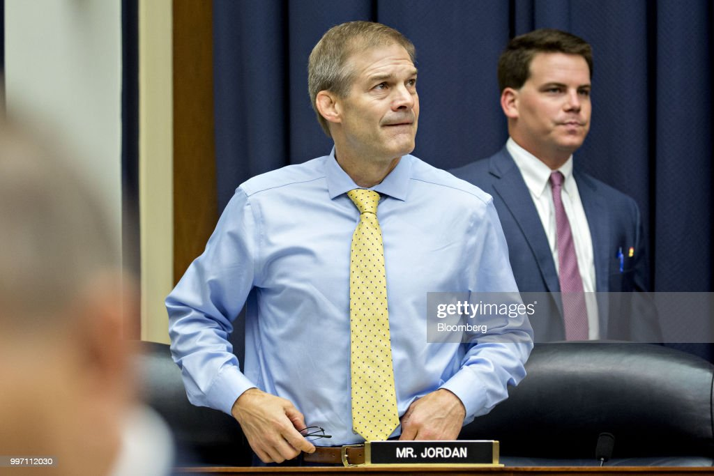 Representative Jim Jordan, a Republican from Ohio, arrives to a joint House Judiciary, Oversight and Government Reform Committees hearing with Federal Bureau of Investigation (FBI) agent Peter Strzok, not pictured, in Washington, D.C., U.S., on Thursday, July 12, 2018. Strzok, the FBI agent who exchanged anti-Trump texts with a bureau lawyer, denied he did anything improper, as he faced a hearing called by Republican lawmakers who say he personifies bias that tainted the agency's Russia investigation early on. Photographer: Andrew Harrer/Bloomberg via Getty Images