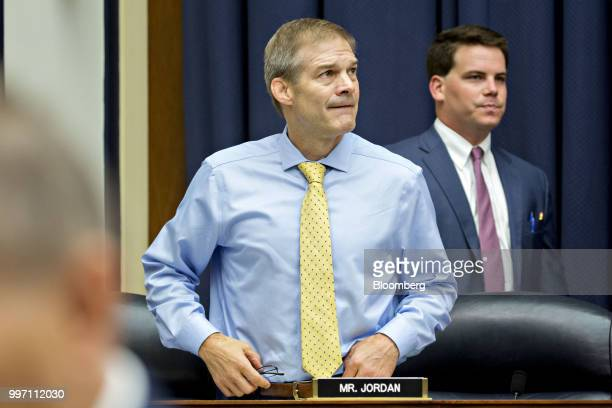 Representative Jim Jordan a Republican from Ohio arrives to a joint House Judiciary Oversight and Government Reform Committees hearing with Federal...