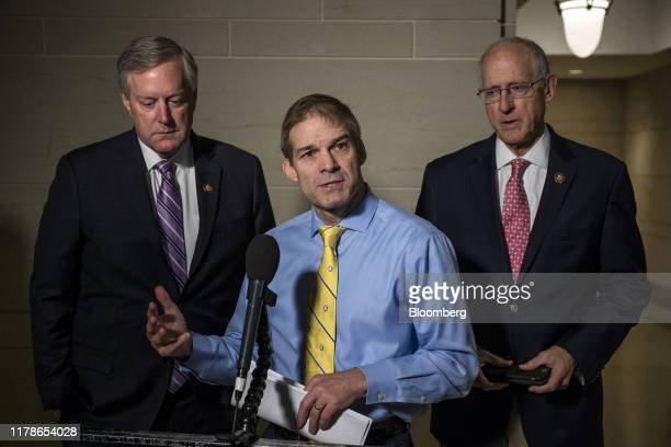 Representative Jim Jordan a Republican from Ohio center speaks to members of the media before a meeting with the House Intelligence Committee on...
