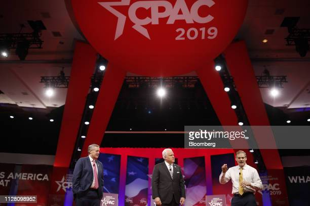 Representative Jim Jordan a Republican from Ohio from right speaks while Matthew Schlapp chairman of American Conservative Union and Representative...