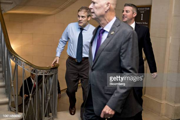 Representative Jim Jordan a Republican from Ohio left arrives to a GOP leadership election on Capitol Hill in Washington DC US on Wednesday Nov 14...