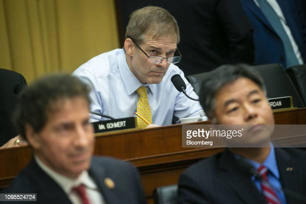 Representative Jim Jordan a Republican from Ohio listens during a hearing with Matthew Whitaker acting US attorney general not pictured in Washington...