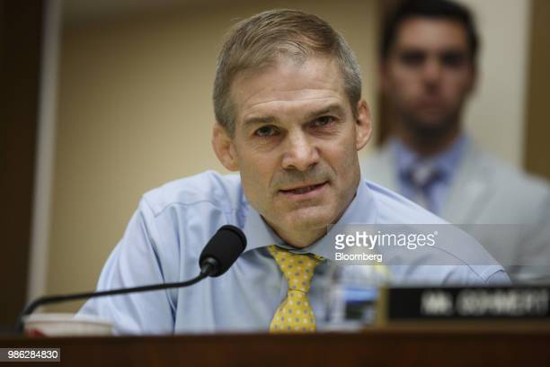 Representative Jim Jordan a Republican from Ohio questions Rod Rosenstein deputy attorney general not pictured during a House Judiciary Committee...