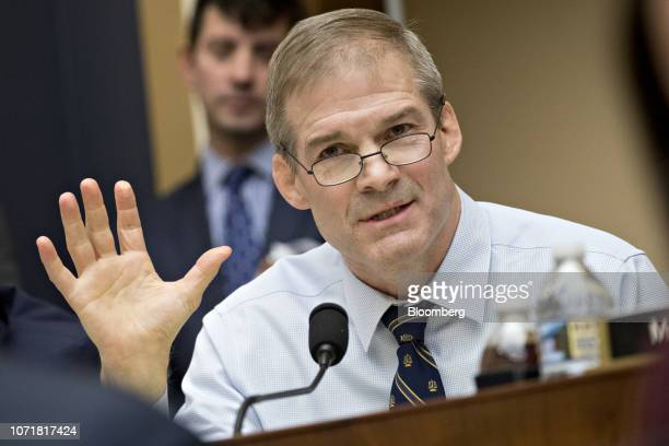 Representative Jim Jordan a Republican from Ohio questions Sundar Pichai chief executive officer of Google Inc not pictured during a House Judiciary...