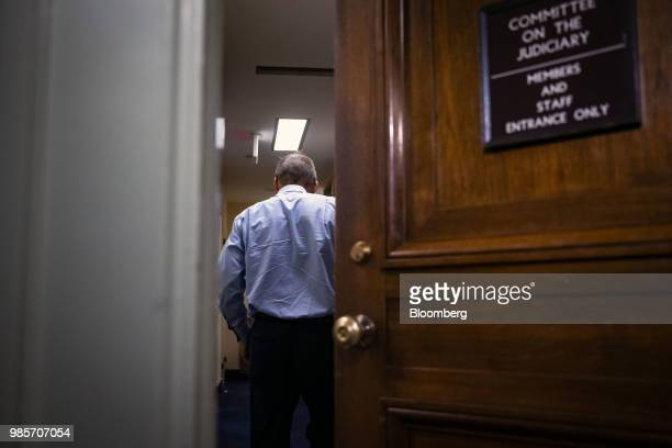 Representative Jim Jordan a Republican from Ohio returns to a closeddoor interview with Peter Strzok an agent at the Federal Bureau of Investigation...