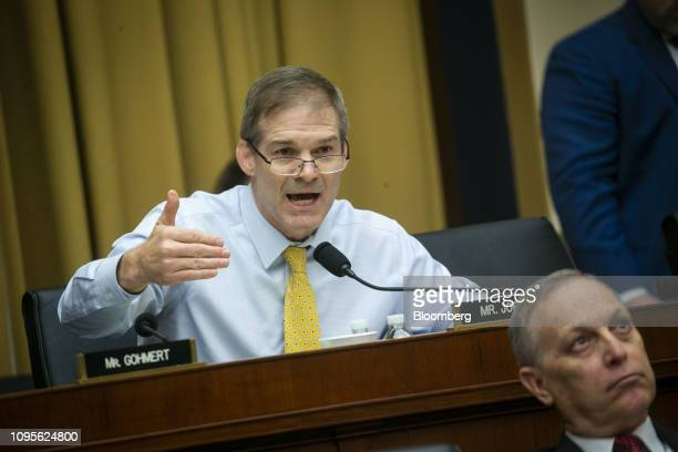 Representative Jim Jordan a Republican from Ohio speaks during a hearing with Matthew Whitaker acting US attorney general not pictured in Washington...