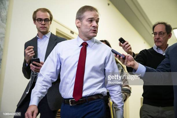 Representative Jim Jordan a Republican from Ohio speaks to members of the media while arriving for the House Judiciary and House Oversight and...