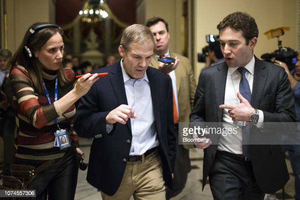 Representative Jim Jordan a Republican from Ohio speaks to members of the media while walking to the Senate floor at the US Capitol in Washington DC...