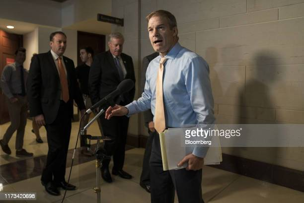 Representative Jim Jordan a Republican from Ohio speaks to members of the media during a break from a closeddoor deposition with Kurt Volker former...