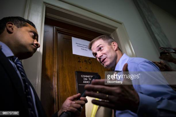 Representative Jim Jordan a Republican from Ohio speaks to members of the media outside of a closeddoor interview with Peter Strzok an agent at the...