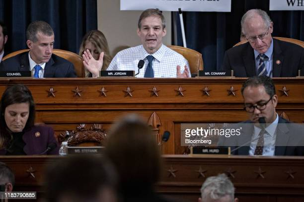 Representative Jim Jordan, a Republican from Ohio, top center, questions witnesses as Steve Castor, general counsel for the Oversight and Government...