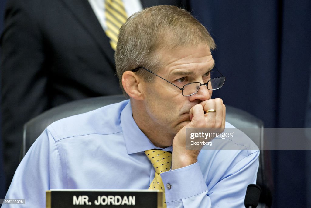 Representative Jim Jordan, a Republican from Ohio, waits to begin a joint House Judiciary, Oversight and Government Reform Committees hearing with Federal Bureau of Investigation (FBI) agent Peter Strzok, not pictured, in Washington, D.C., U.S., on Thursday, July 12, 2018. Strzok, the FBI agent who exchanged anti-Trump texts with a bureau lawyer, denied he did anything improper, as he faced a hearing called by Republican lawmakers who say he personifies bias that tainted the agency's Russia investigation early on. Photographer: Andrew Harrer/Bloomberg via Getty Images